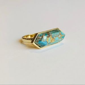 Jewelry - Copper Turquoise & 18k Gold Plated Ring Size 7